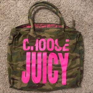 JUICY COUTURE | Y2K Camo Print Bag with Pink Font